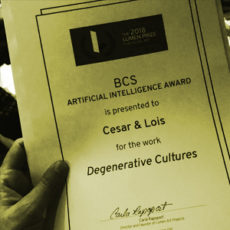 LUMENS PRIZE BCS ARTIFICIAL INTELLIGENCE AWARD FOR DEGENERATIVE CULTURES.